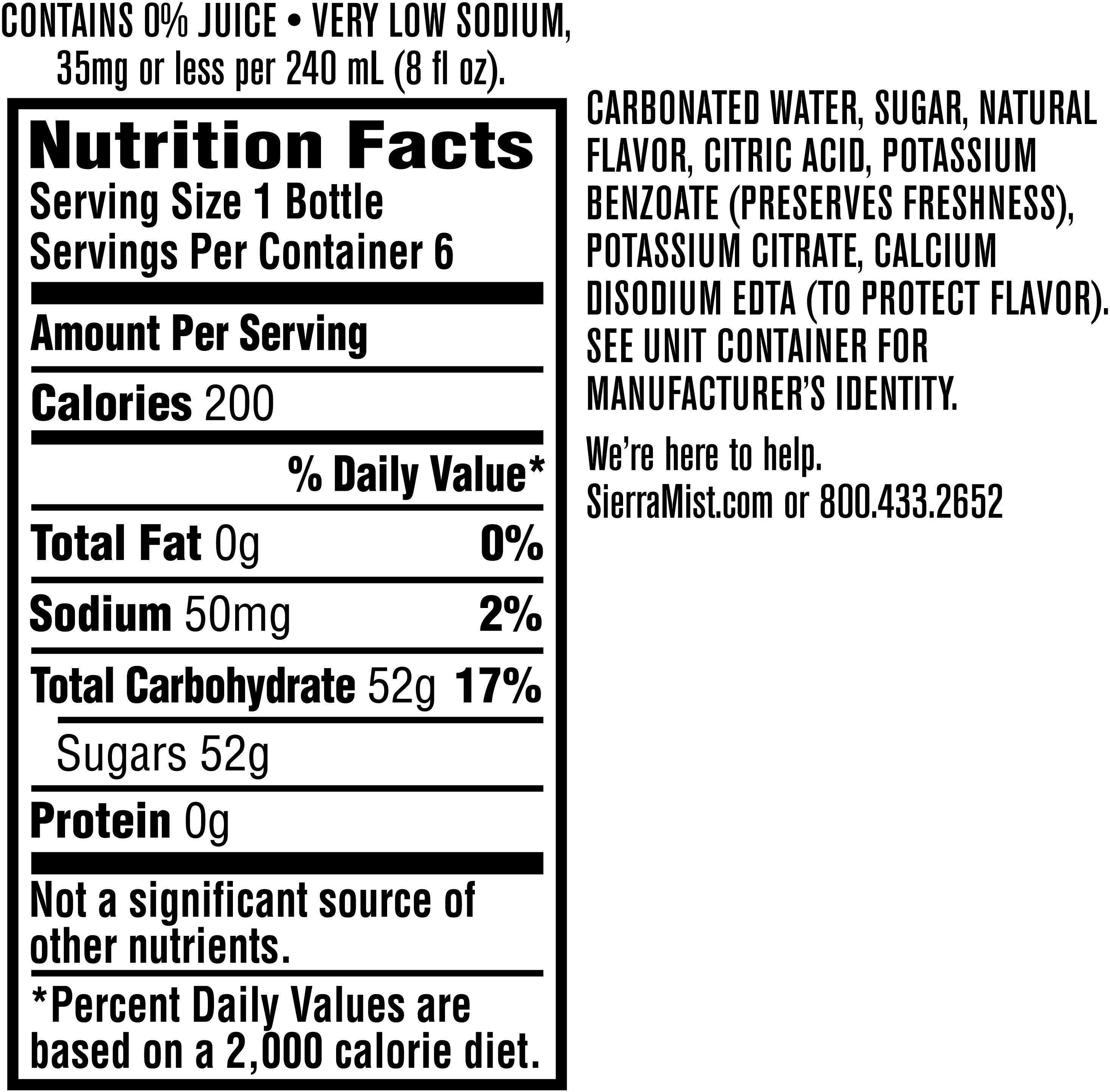 Image describing nutrition information for product Sierra Mist Lemon Lime